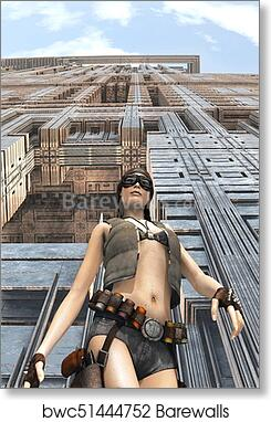 Dieselpunk Girl Science Fiction Art Print Poster