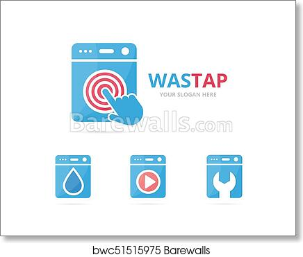 set of laundry logo combination washing machine and cursor symbol or icon unique washer and digital logotype design template art print barewalls posters prints bwc51515975 barewalls