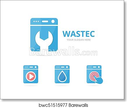 set of laundry logo combination washing machine and repair symbol or icon unique washer and fix logotype design template art print barewalls posters prints bwc51515977 set of laundry logo combination washing machine and repair symbol or icon unique washer and fix logotype design template art print poster