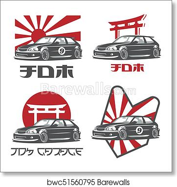 Art Print Of Old Japanese Car Logo Emblems And Badges Isolated On