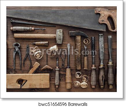Amazing Vintage Woodworking Tools On The Workbench Art Print Poster Machost Co Dining Chair Design Ideas Machostcouk