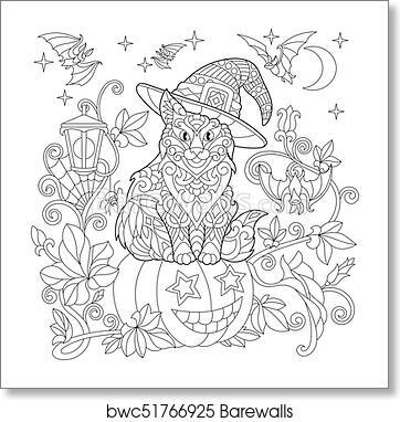 Zentangle Stylized Halloween Cat Art Print Barewalls Posters Prints Bwc51766925