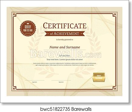 Art Print of Luxury certificate template with elegant border frame ...