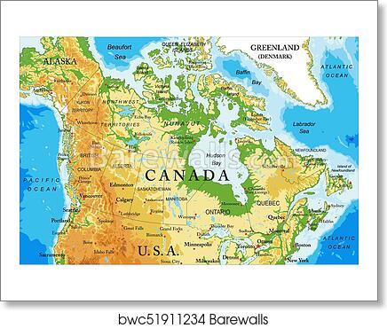 Physical map of Canada art print poster on usa and brazil map, vacation spots usa map, usa and vancouver map, usa and mexico map, alaska map, usa canada vermont border, usa canada flag, usa map with political, usa and panama map, usa and italy map, usa and world map, usa and carribean map, north america map, usa and texas map, usa and belgium map, usa and el salvador map, latin america map, michigan map, usa and germany map, usa and philippines map,