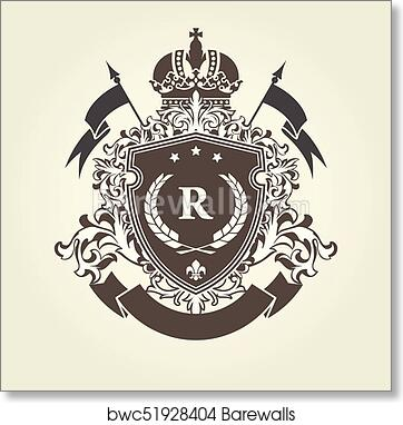 Imperial Royal Coat Of Arms Heraldic Blazon With Shield And Crown Art Print Poster