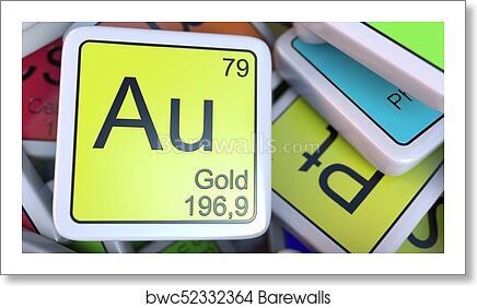 Art print of gold au block on the pile of periodic table of the art print of gold au block on the pile of periodic table of the chemical elements blocks 3d rendering urtaz Choice Image