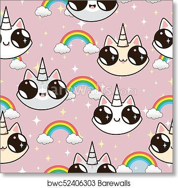Art Print Of Cats Unicorns And A Rainbow Unicorn On Pink Background
