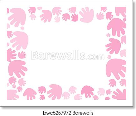 Baby Pink Handprint Background Art Print Poster
