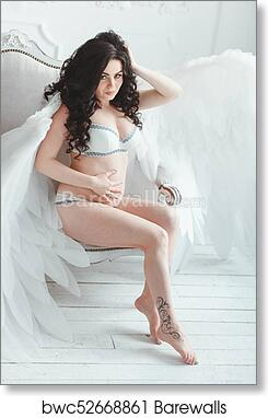 Beautiful Young Pregnant Girl With Tattoo And Big White Angel Wings In White Studio Art Print Poster