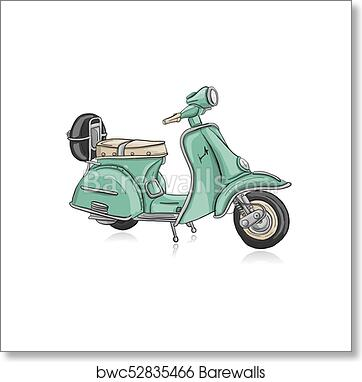 Vintage Green Scooter Sketch For Your Design Art Print Barewalls Posters Prints Bwc52835466