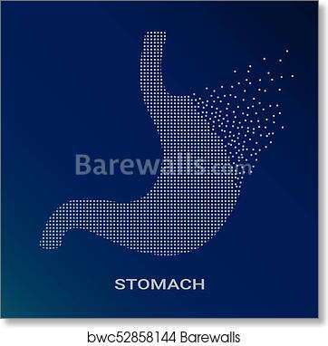 Abstract Vector Illustration Of Human Stomach On Blue Background Pixel Art Logo Of Gastroenterology Vector Logotype Illustration Creative Medical