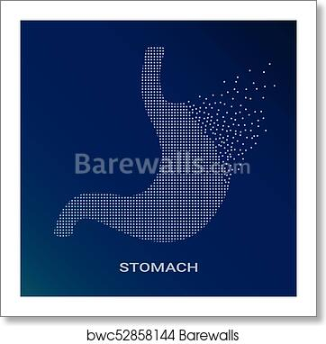 Abstract Vector Illustration Of Human Stomach On Blue Background Pixel Art Logo Of Gastroenterology Vector Logotype Illustration Creative Medical