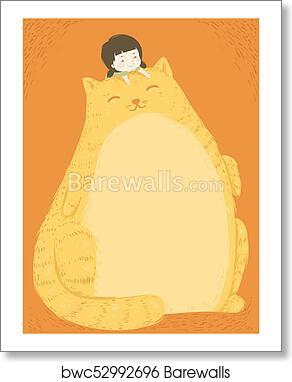 Kid Girl Fat Cat Belly Background art print poster