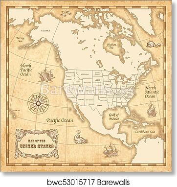 Vector Vintage US map, Art Print | Barewalls Posters & Prints ...