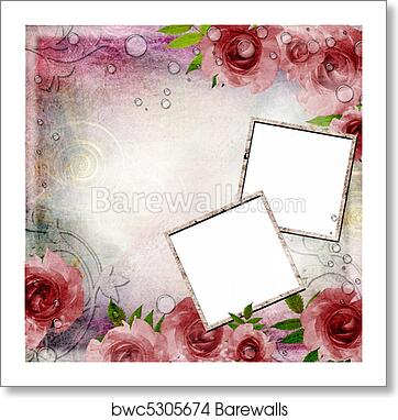 vintage pink and green background with frames and roses 1 of set art print barewalls posters prints bwc5305674 vintage pink and green background with frames and roses 1 of set art print poster