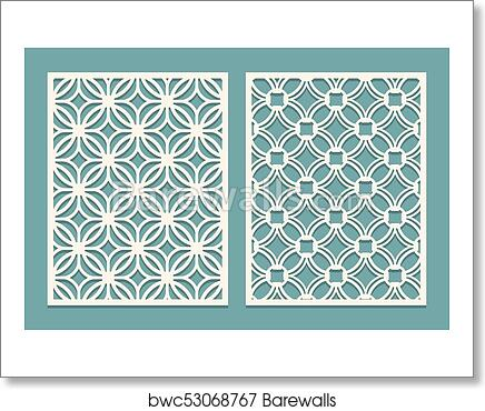 Set of die cut card  Laser cutting panels  Cutout silhouette with geometric  pattern  Ornament suitable for printing, engraving, laser cutting paper,
