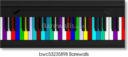Colorful Piano Keyboard Top View Banner 3d Illustration Art Print Barewalls Posters Prints Bwc53235898