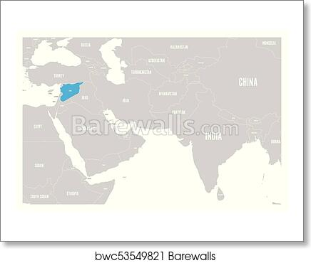 Syria blue marked in political map of South Asia and Middle East ...