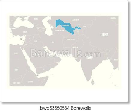 Art Print Of Uzbekistan Blue Marked In Political Map Of South Asia