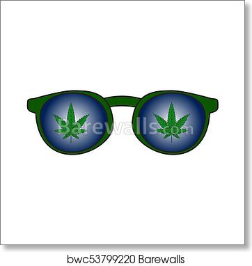 Rastaman Sunglasses With The Reflection Of Marijuana Leaves Vector Illustration Art Print Barewalls Posters Prints Bwc53799220
