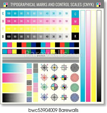 Art Print Of Calibration Printing Crop Marks CMYK Color Test Vector Document