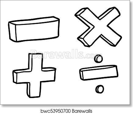 Art Print Of Cartoon Math Symbols Barewalls Posters Prints