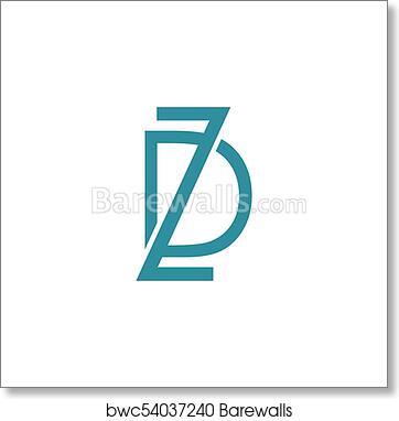 DZ Letter Logo art print poster