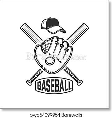 Art Print Of Emblem With Crossed Baseball Bat And Baseball Glove
