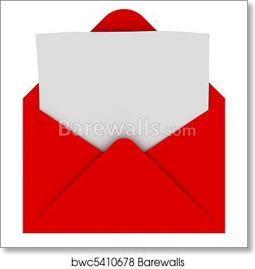 Letter Art Print.Envelope With Blank Letter Art Print Poster