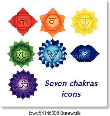 Art Print Of Seven Chakras Icons Colorful Spiritual Tattoos