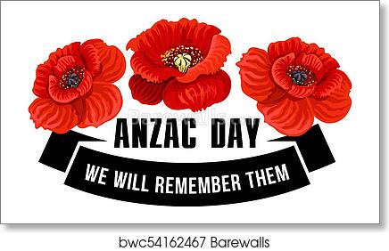 Art Print Of Anzac Day Icon Of Poppy Flower With Black Ribbon