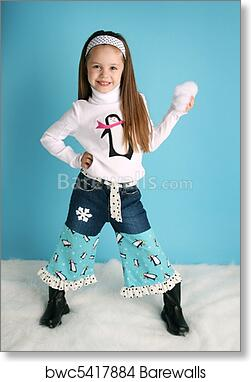 art print of cute toddler girl modeling a winter penguin outfit