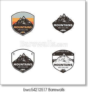Ski Club, Mountains Explorer Labels  Vintage hand drawn mountain winter  camp badges  Outdoor adventure ski camp logo design  Travel patch, hipster