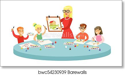 Art Print Of Children In Class Two Cartoon Illustrations With Elementary School Kids And Their Techer Crafting Drawing Creativity Lesson
