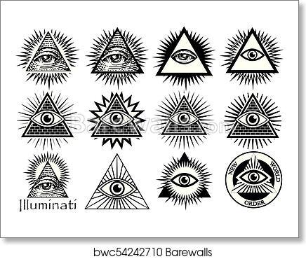 Art Print Of Illuminati Symbols Masonic Sign All Seeing Eye