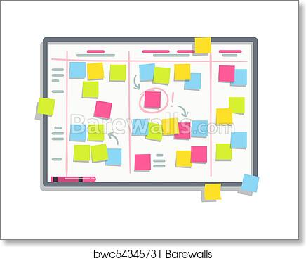 Art Print Of Process Planning Board With Color Sticky Notes Scrum Task Whiteboard Flat Vector Illustration