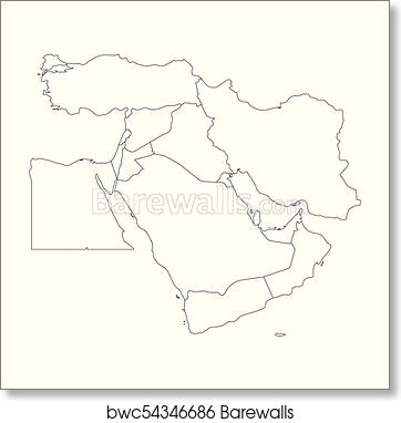 It is a picture of Printable Map of Middle East in 7th grade