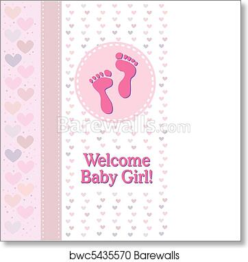 art print of baby girl footprints birth announce barewalls posters