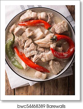 Filipino cuisine: stewed spicy pork in coconut milk with chili pepper   Vertical top view art print poster