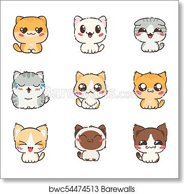 art print of cute cartoon cats and dogs with different emotions