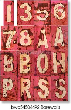 art print of letter number rusty peel paint 1 3 5 6 7 8