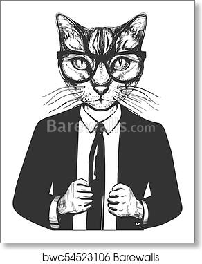 Cat In Suit And Glasses Art Print Barewalls Posters Prints Bwc54523106
