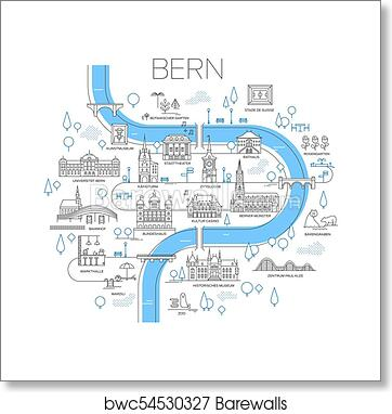Art Print of Illustrated map of Bern, Switzerland. | Barewalls ...