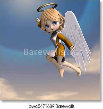 Cute cartoon angel with wings and halo  3D rendering with clipping path art  print poster