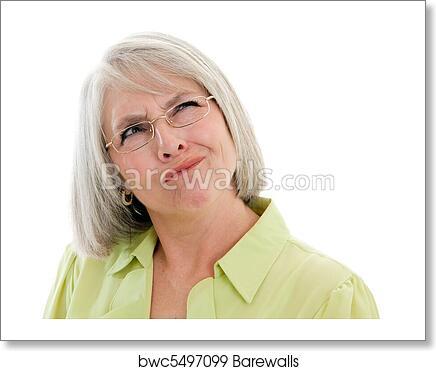 5388b63cd2db Mature woman confused, Art Print   Barewalls Posters & Prints ...