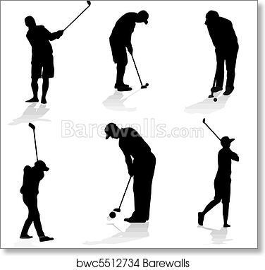 Art Print Of Golf Players Silhouette Barewalls Posters Prints
