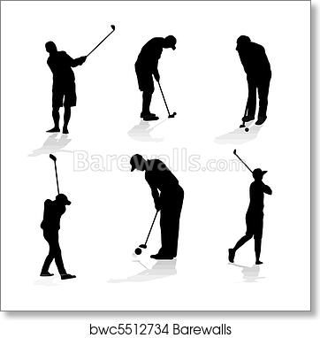 Art Print Of Golf Players Silhouette Barewalls Posters Prints