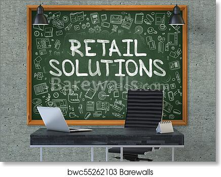 Art Print Of Retail Solutions Concept Chalkboard On The Office Wall 3d
