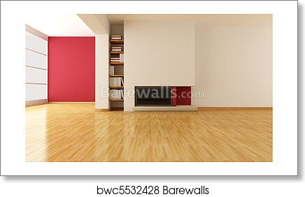 Empty living room with minimalist fireplace art print poster