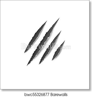bc9dbb3927be Claws paw scratches isolated vector on white background. Animal Claws  horror scratch tiger, lion or bear, Art Print
